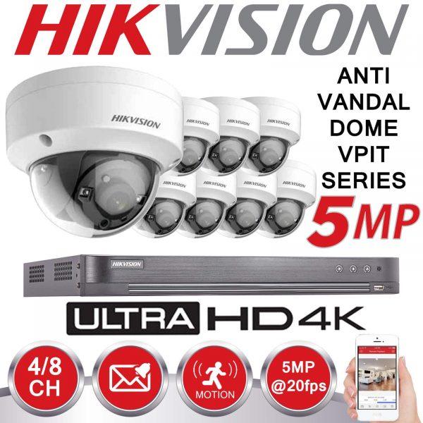 HIKVISION 5MP CCTV SYSTEM UHD 2K DVR 4CH 2.8MM VANDAL PROOF OUTDOOR EXIR CAMERA KIT 1