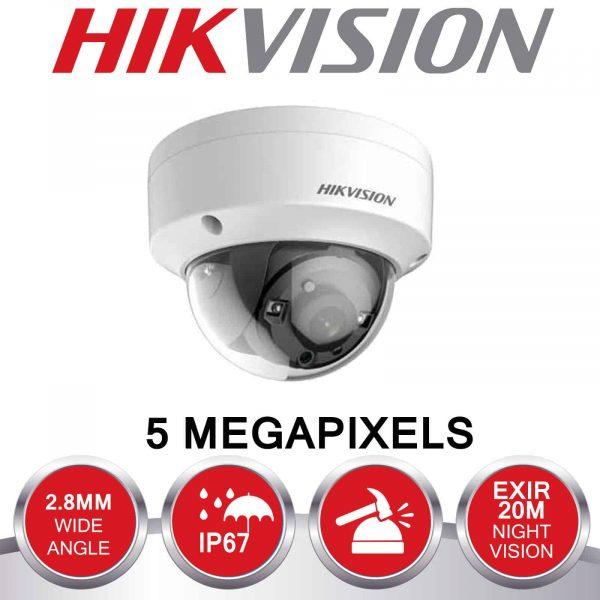 HIKVISION 5MP CCTV SYSTEM UHD 2K DVR 4CH 2.8MM VANDAL PROOF OUTDOOR EXIR CAMERA KIT 3