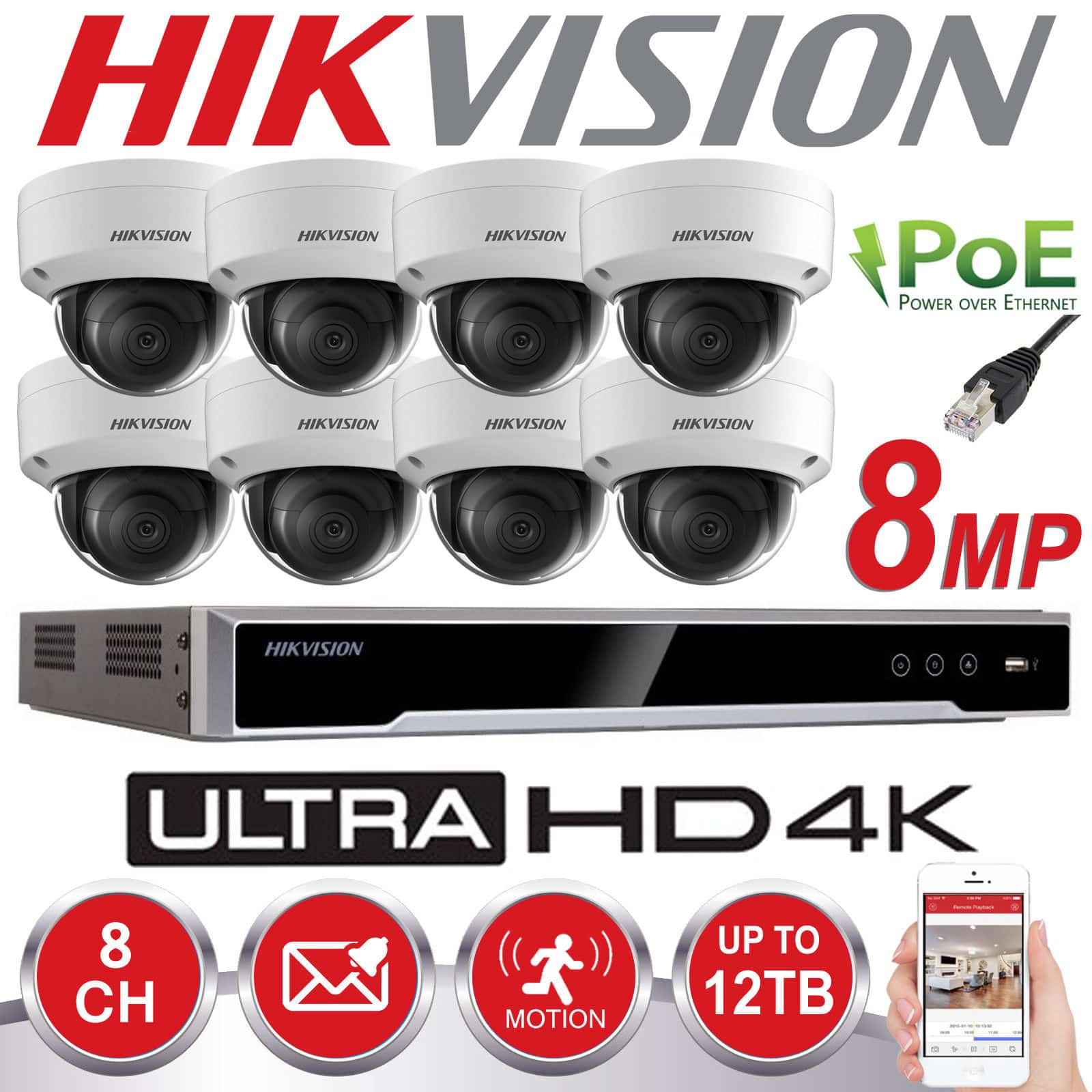 Hikvision 8mp Cctv System Ip Poe 8ch Channel 4k Uhd