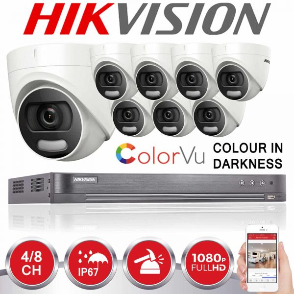 HIKVISION CCTV SYSTEM 4CH 8CH DVR COLOUR AT NIGHT 5MP CAMERA 1