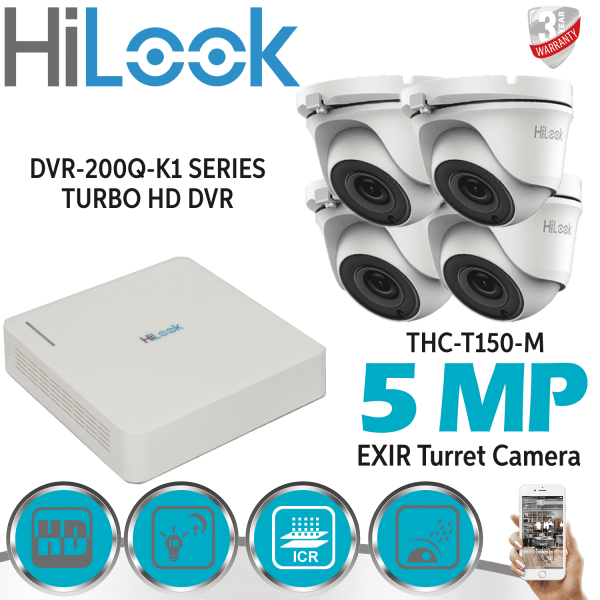 HIKVISION 5MP CCTV SYSTEM 4CH 8CH DVR HD DOME CAMERA WHITE GREY HOME OUTDOOR KIT 1
