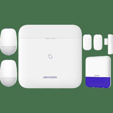Hikvision AX PRO Bundle includes 1 AX PRO L-level hub, 2 PIR detectors, 2 keyfobs, 1 magnetic contact, 1 external siren 1