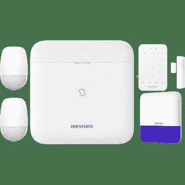 Hikvision AX Pro Bundle includes 1 AX PRO L-level hub, 2 PIR detectors, 1 keypad, 1 magnetic contact, 1 external siren 1
