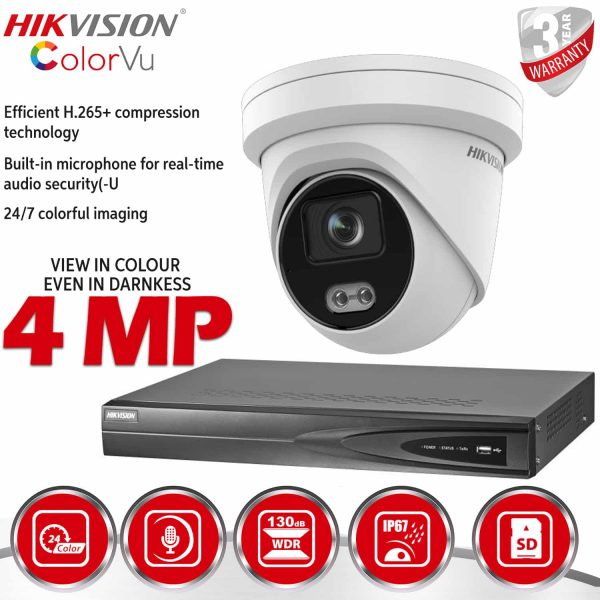HIKVISION 4MP IP POE DOME COLORVU BUILT IN MIC WHITE DS-2CD2347G1-LU 1