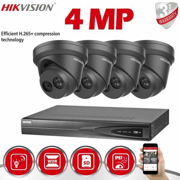 HIKVISION 4MP CCTV SYSTEM IP POE DS-2CD2343G0-I 4CH NVR GREY 1