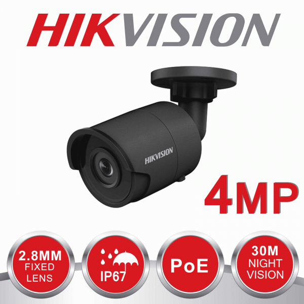 2X 4MP HIKVISION BULLET 2.8mm IP67 30m EXIR DS-2CD2043G0-I Grey INCLUDING INSTALLATION 1