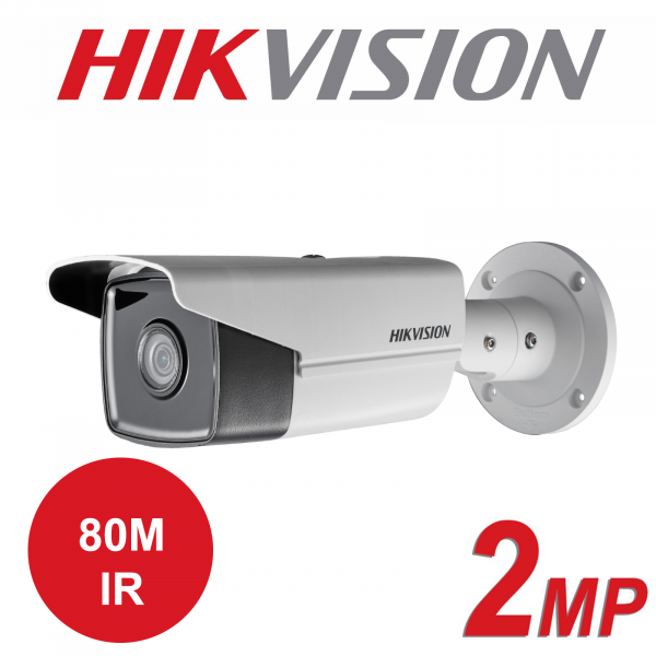 2MP HIKVISION OUTDOOR WDR 80M IR FIXED BULLET IP PoE CAMERA DS-2CD2T23G0-I8 6mm 1